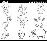 Cartoon farm animals set coloring book. Black and White Cartoon Illustration of Funny Comic Farm Animal Characters Set Coloring Book royalty free illustration