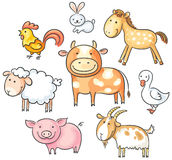Cartoon farm animals Stock Photos