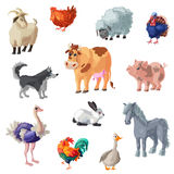Cartoon Farm Animals Set. Set of twelve isolated decorative icons with colorful cartoon style farm animals images on blank background vector illustration Stock Images