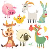 Cartoon farm animals set. Vector illustration. Cow horse chicken bunny rabbit pig goat and sheep vector illustration
