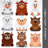 Cartoon Farm Animals. Vector Collection of Cute Animals Stock Photos