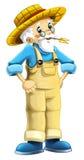 Cartoon farm character - older farmer - isolated Royalty Free Stock Image