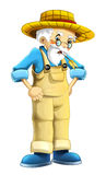 Cartoon farm character - older farmer - isolated Stock Photography