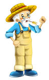 Cartoon farm character - older farmer - isolated Royalty Free Stock Images