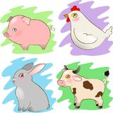 Cartoon farm cute animals set on abstract Background vector illustration