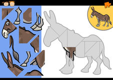 Cartoon farm donkey puzzle game Royalty Free Stock Image