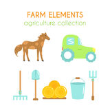 Cartoon farm elements. Flat argiculture collection. Cartoon farm elements. Vector tractor illustration. Rake and shovel icons. Hay rolls and horse design. Flat Royalty Free Stock Photo