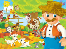 Cartoon farm - illustration for the children Stock Photos