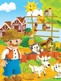 Cartoon farm - illustration for the children Royalty Free Stock Photography