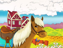 Cartoon farm illustration with optional framing Royalty Free Stock Photos