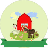 Cartoon farm label with blank ribbon Royalty Free Stock Images