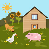 Cartoon farm landscape Stock Image
