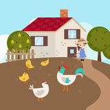 Cartoon farm landscape Royalty Free Stock Photos