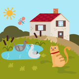 Cartoon farm landscape Royalty Free Stock Images