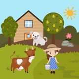 Cartoon farm landscape Royalty Free Stock Image