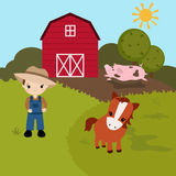Cartoon farm landscape Stock Photography