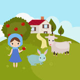 Cartoon farm landscape Royalty Free Stock Photo