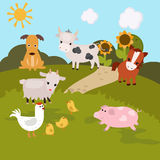 Cartoon farm landscape Stock Photos