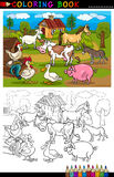 Cartoon Farm and Livestock Animals for Coloring Royalty Free Stock Photo