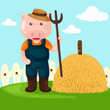 cartoon farm pig with pitchfork Stock Photos