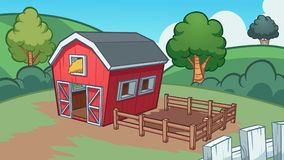 Cartoon farm with red barn. Cartoon farm background. Vector clip art illustration with simple gradients. Some elements on separate layers vector illustration