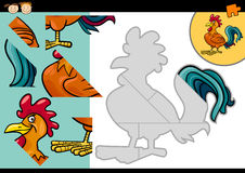 Cartoon farm rooster puzzle game Stock Photo