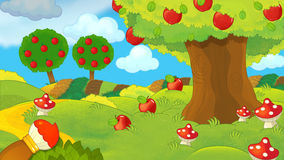 Cartoon farm scene - background for different usage Royalty Free Stock Image