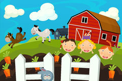 Cartoon farm scene - children playing on the farm Stock Photos