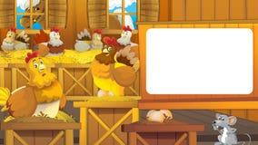 Cartoon farm scene with cute animal - hens and mouse Stock Photo