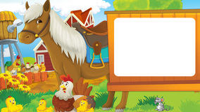 Cartoon farm scene with cute animal - horse hens and chickens Royalty Free Stock Photography