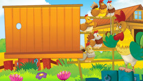 Cartoon farm scene with cute animal - rooster and hens. Happy and colorful traditional illustration for children Royalty Free Stock Photography