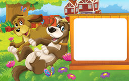 Cartoon farm scene with different animals - dogs having fun on the meadow Stock Photo