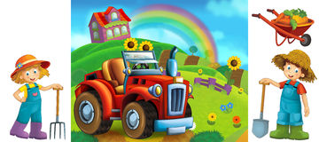 Cartoon farm scene with  elements for individual composition Royalty Free Stock Images