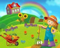 Cartoon farm scene with farm girl working and having fun Royalty Free Stock Photos