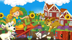 Cartoon farm scene - farm girl is working and having fun Royalty Free Stock Photography
