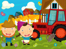 Cartoon farm scene - farmer and his wife near the tractor Stock Photo