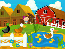 Cartoon farm scene - girl on the farm - chickens and ducks Royalty Free Stock Image