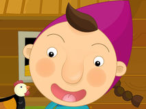 Cartoon farm scene - girl on the farm - chickens Stock Image