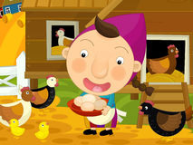 Cartoon farm scene - girl on the farm - chickens Royalty Free Stock Photo