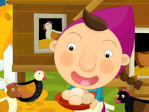 Cartoon farm scene - girl on the farm - chickens Royalty Free Stock Image