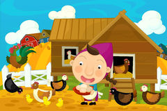 Cartoon farm scene - girl feednig the hens Stock Image