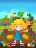 Cartoon farm scene - happy child on the farm Royalty Free Stock Photography