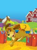 Cartoon farm scene - happy farm animals are having fun - space for text Stock Photos