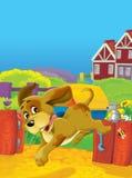 Cartoon farm scene - happy farm animals are having fun - space for text Stock Photo