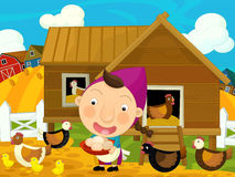 Cartoon farm scene - hens rooster and the hostess Royalty Free Stock Photography