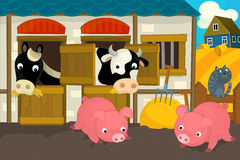 Cartoon farm scene - horse pigs cat and cow Stock Images