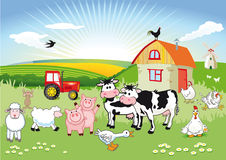 Cartoon farm scene vector illustration