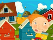 Cartoon farm scene - kid near the hives Stock Photo