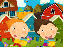 Cartoon farm scene - kids playing near the hives. Happy and colorful llustration for the children Royalty Free Stock Photo