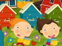 Cartoon farm scene - kids playing near the hives. Happy and colorful llustration for the children Stock Images